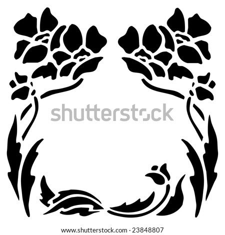 Flower Picture Frame on Black Silhouette Of Flowers  Leaves  And Stem As A Frame Border Clip