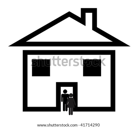 Black silhouette of heterosexual couple walking through door of new suburban home, isolated on white background.