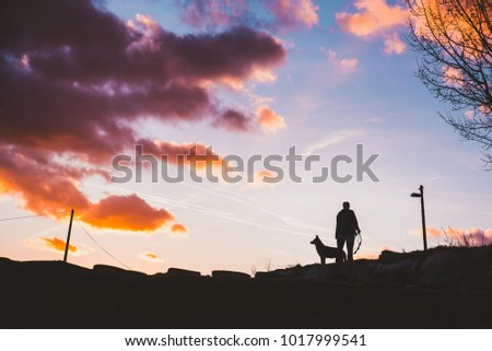 black silhouette of man with dog #1017999541