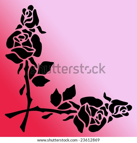 stock photo : Black Silhouette of Rose Flowers as a Border Clip Art Stencil