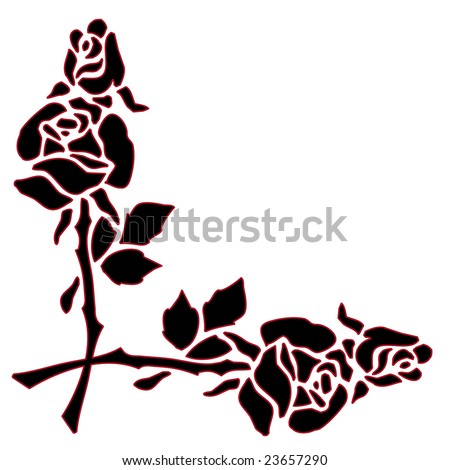 Red As A Border Clip Art Stencil Design Isolated On A White Background