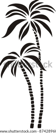 black silhouette palm tree isolated on White background.