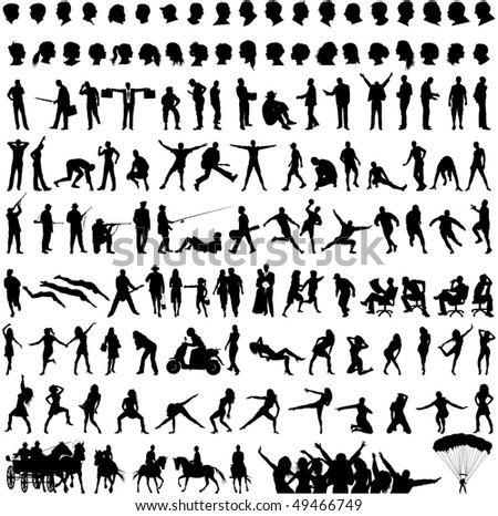 black silhouette people on white background