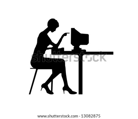 Black silhouette the women typing at a computer