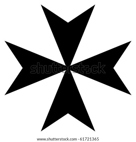Black silhouetted Maltese cross, isolated on white background.