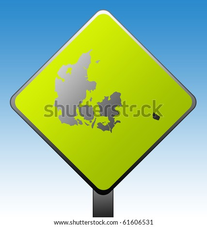 Black silhouetted map of Denmark on green diamond shaped road sign with gradient blue sky background. - stock photo