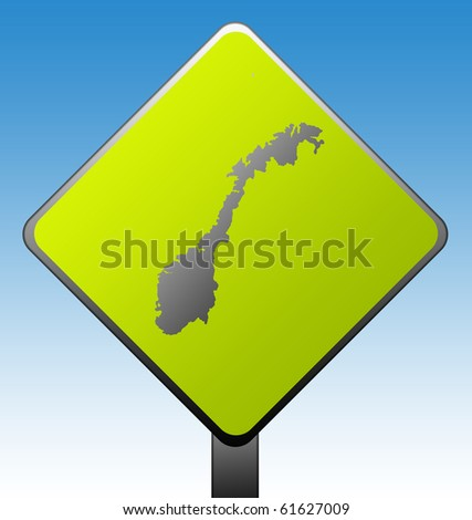 Black silhouetted map of Norway on green diamond shaped road sign with gradient blue sky background.
