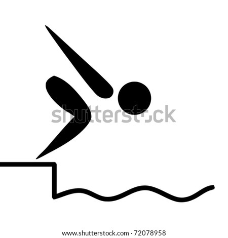 Black silhouetted swiming or diving sign or symbol; isolated on white background.