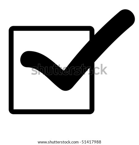 Black silhouetted tick or check mark in box, isolated on white background.