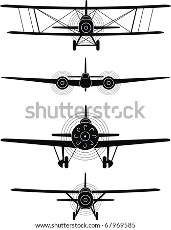 Black silhouettes of military aircraft of World War II,  XX century - isolated illustration on white background