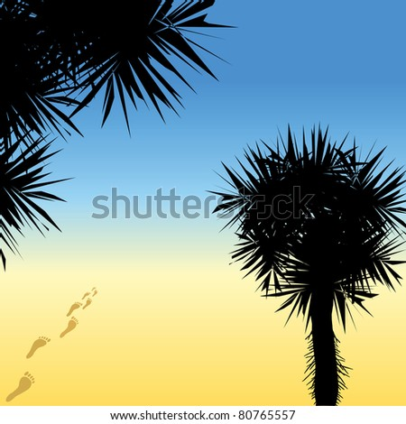 Black silhouettes of palm trees and human traces going to the sea (jpg)