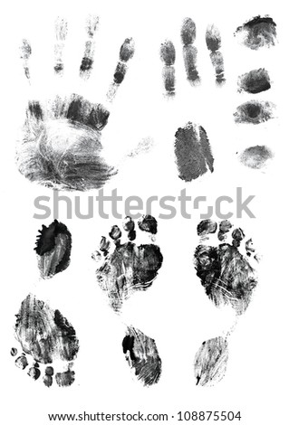 Black silhouettes of prints of fingers and foot. Isolated over white