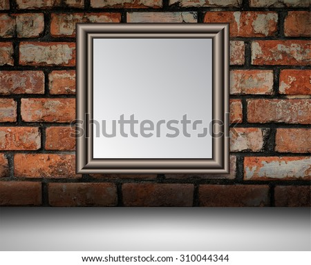 black silver frame on the Old grunge brick wall. text box. art