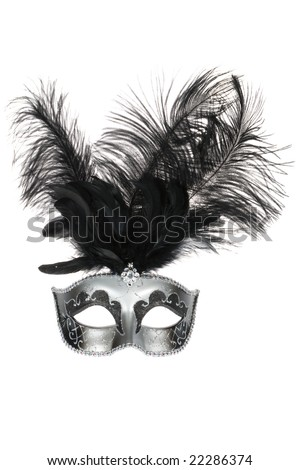 Black silver venetian carnival mask with feathers isolated on white background