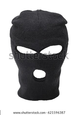 Black Ski Mask With Copy Space Cut Out.