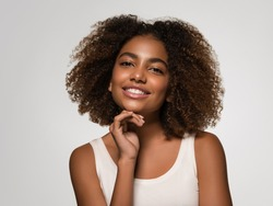 Black skin beautiful woman healthy beauty smile skin happy face african american beauty woman model girl