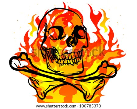 Black skull and crossbones on fiery background