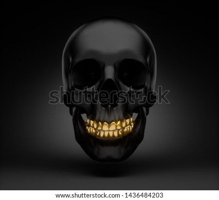 Black skull with golden teeth smiling - 3D illustration