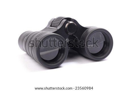 Black small binoculars isolated on,white