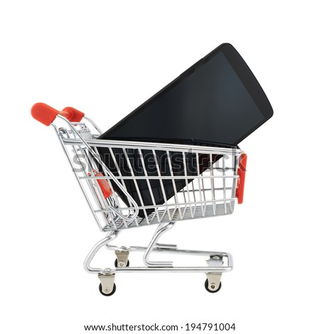Black smart phone in a shopping cart isolated over the white background