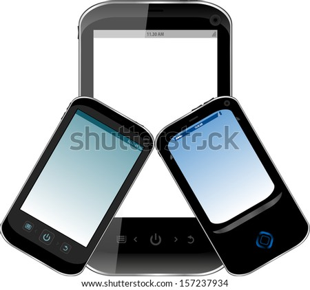 Black smart phone set isolated on white background, raster