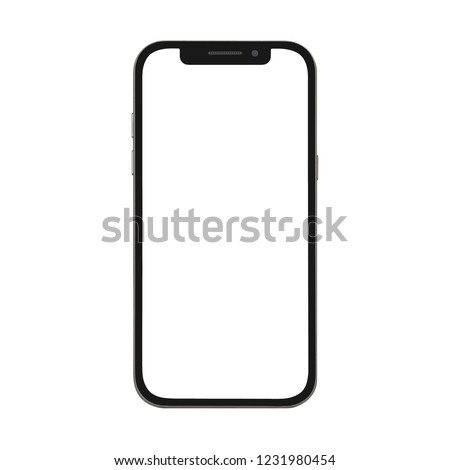 black smart phone with blank screen isolated on white background #1231980454
