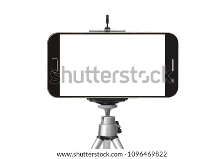 black smart phone with tripod isolated on white background