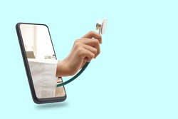 Black smartphone concept Connect to communication via online technology. The doctor can examine the patient via video call. Light green background. Clipping Path