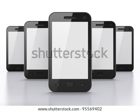 Black smartphone, 3d render. Smart phone isolated on white - stock photo