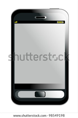 Black smartphone isolated on white background.