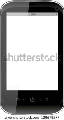 Black smartphone isolated on white background, raster