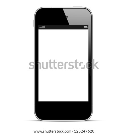 Black smartphone isolated on white background. Raster version