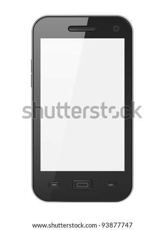 Black smartphone isolated on white background. Smart phone with blank white screen, 3d render.
