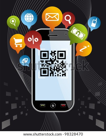 Black smartphone, mobile or Cell Phone device with QR code app on black background.