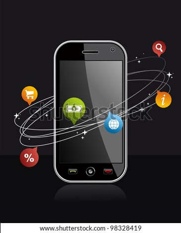 Black smartphone with app on dark background. Mobile or Cell Phone device illustration.