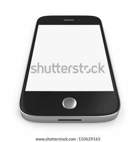 Black Smartphone with Blank Screen isolated on white background