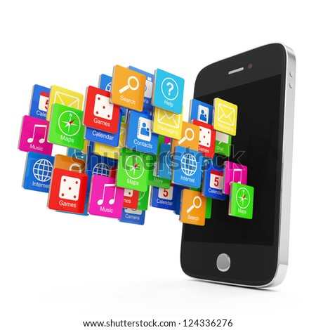 Black Smartphone with Cloud of Application Icons isolated on white background
