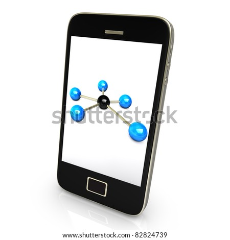 Black smartphone with networks isolate on white background