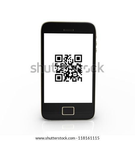 Black smartphone with QR-Code, isolated on white.