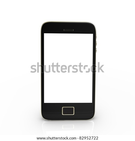 Black smartphone with white screen, isolated on white.