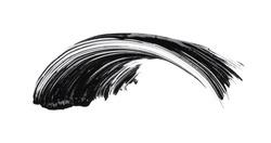 Black smear of mascara or acrylic paint isolated on a white background