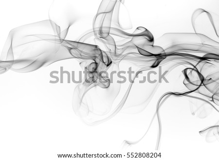 Black smoke abstract on white background. fire design #552808204