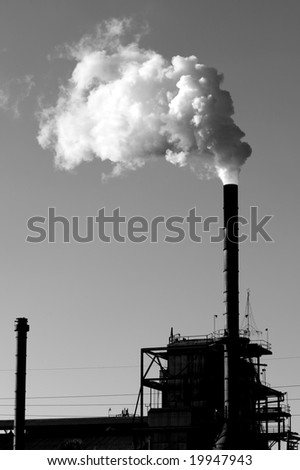 Black Smokestack White Smoke - stock photo