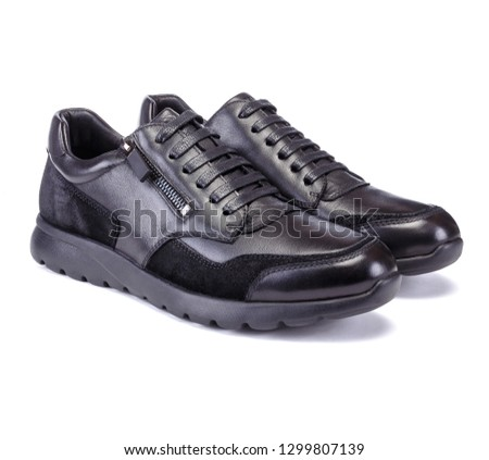 Black sneakers style men shoe isolated on white background #1299807139