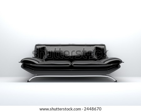 black sofa isolated on white background - stock photo