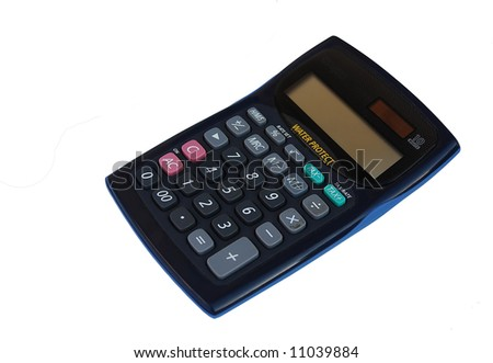 black solar calculator isolated on a white background