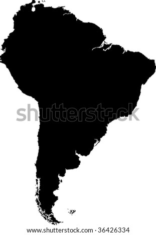 Black South America map without country borders - stock photo