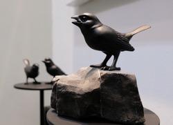 Black sparrow resin in black color