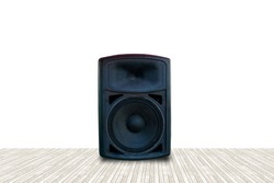 Black speakers, separated from the background.