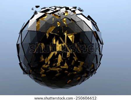 Black Sphere Shattered and gold Abstract 3d isolated on background
